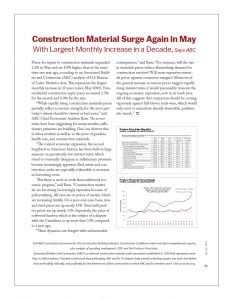 Construction Material Surge Again in May with Largest